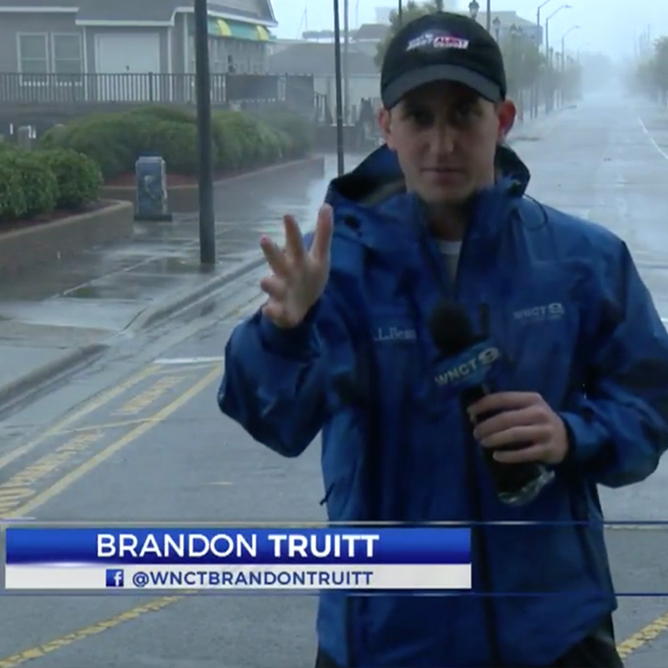 Brandon Truitt, who graduated from WCU in 2016, provided Hurricane Florence coverage in Morehead City for WNCT Channel 9.